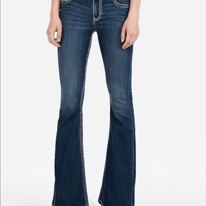 Express Thick Stitch Flare Jeans-worn/washed once